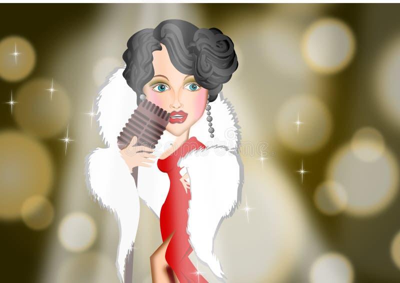 Mulher do cantor do vintage em ilustrações do fundo de fase ilustração royalty free