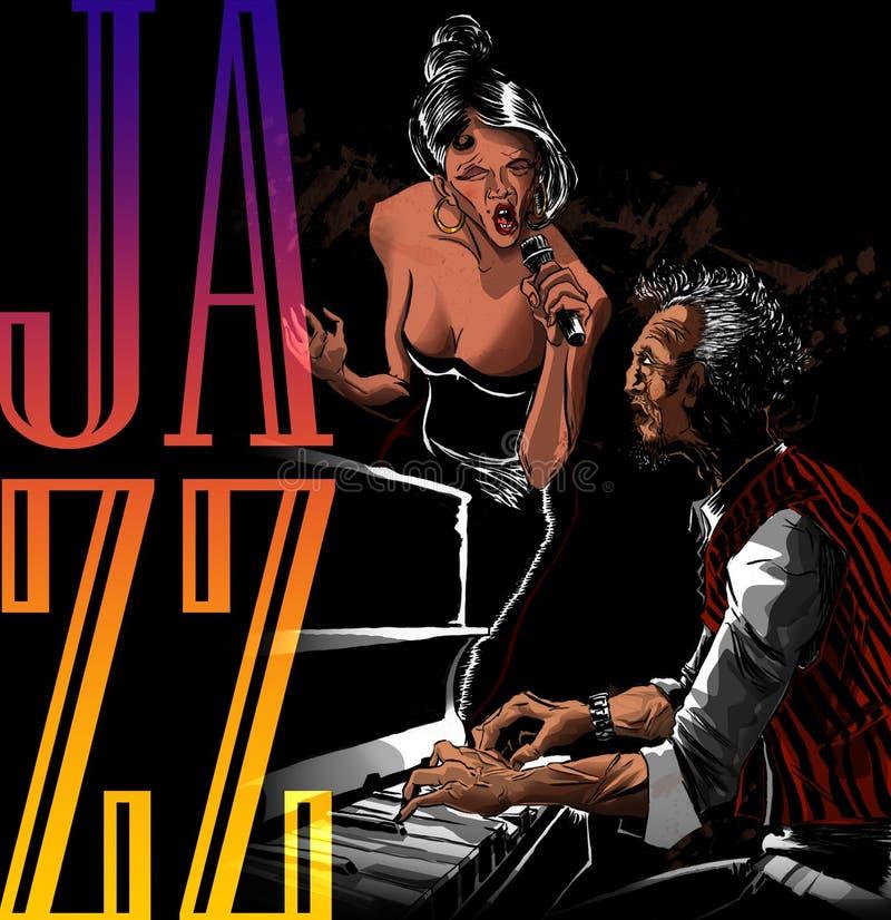 Mulher do cantor do jazz que canta com jogador de piano ilustração do vetor