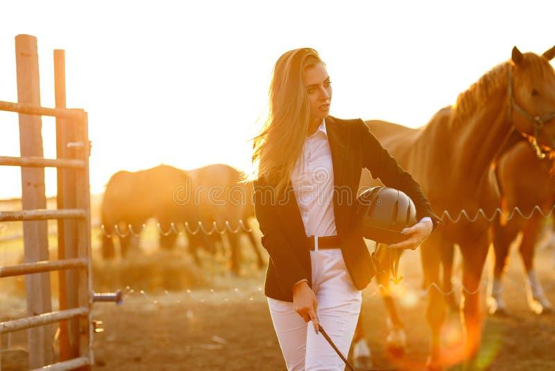 Mulher do cavaleiro com o chicote no por do sol fotos de stock