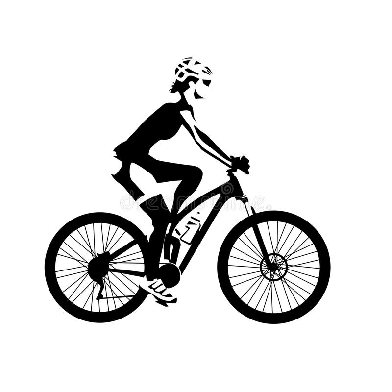 Mulher do ciclismo, ilustração isolada do vetor ilustração stock