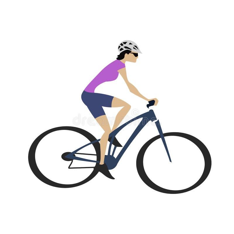 Mulher do ciclismo no jérsei roxo com bicicleta azul ilustração stock