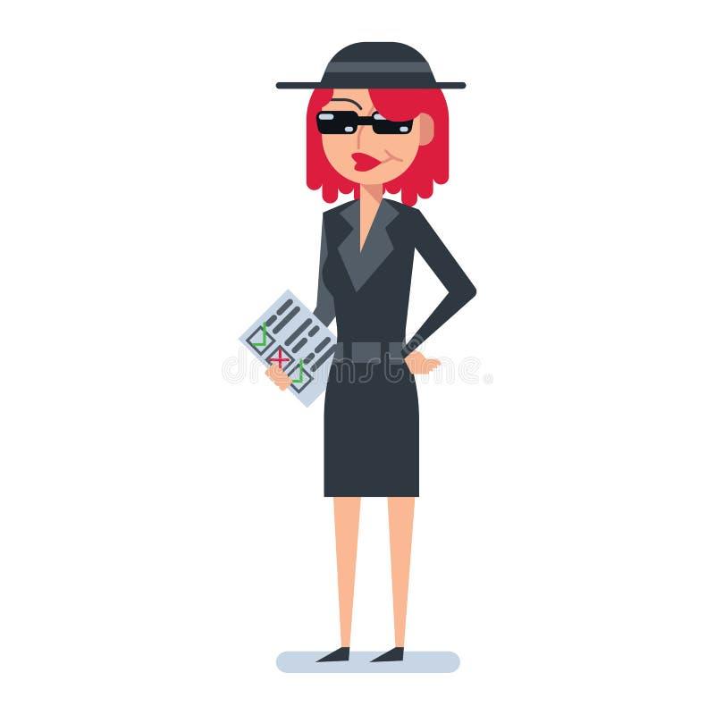 Mulher do cliente do mistério no revestimento do espião ilustração stock
