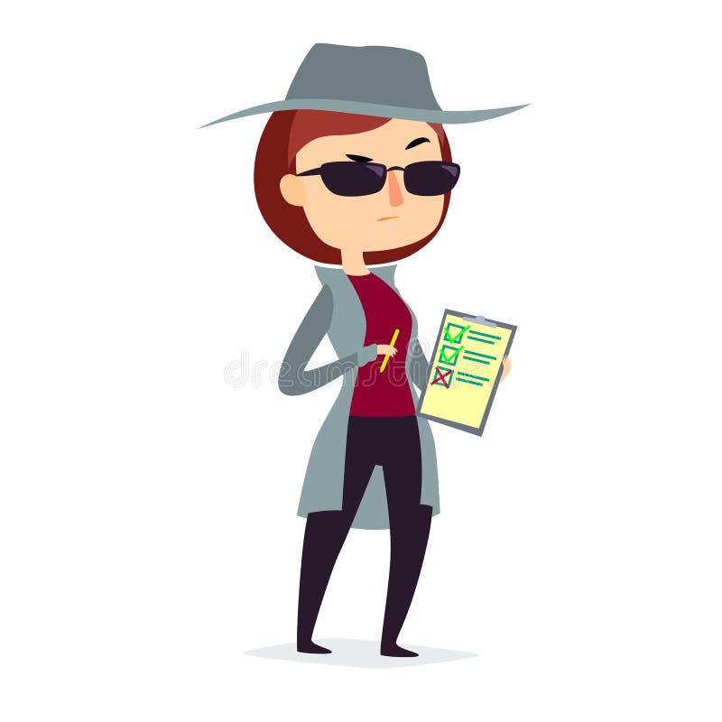 Mulher do cliente do mistério no revestimento do espião com pena e lista de verificação ilustração do vetor