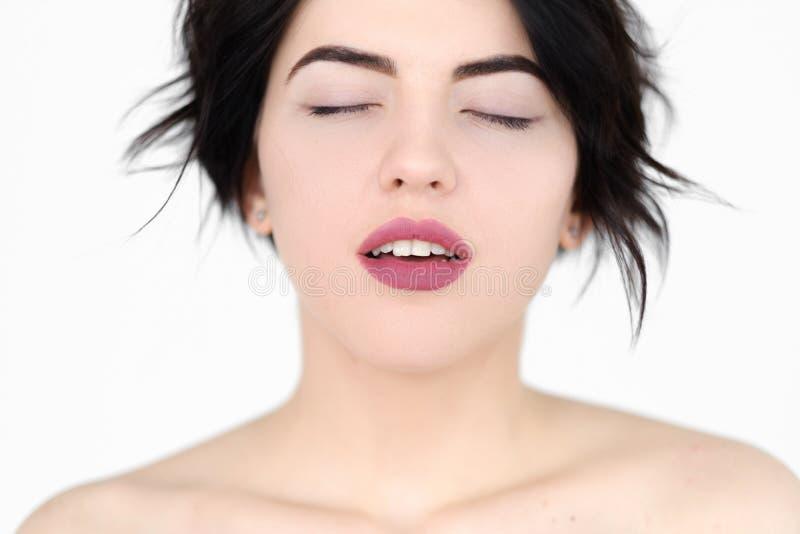 Mulher do climax do plesure do sexo do orgasmo da cara da emoção imagens de stock royalty free