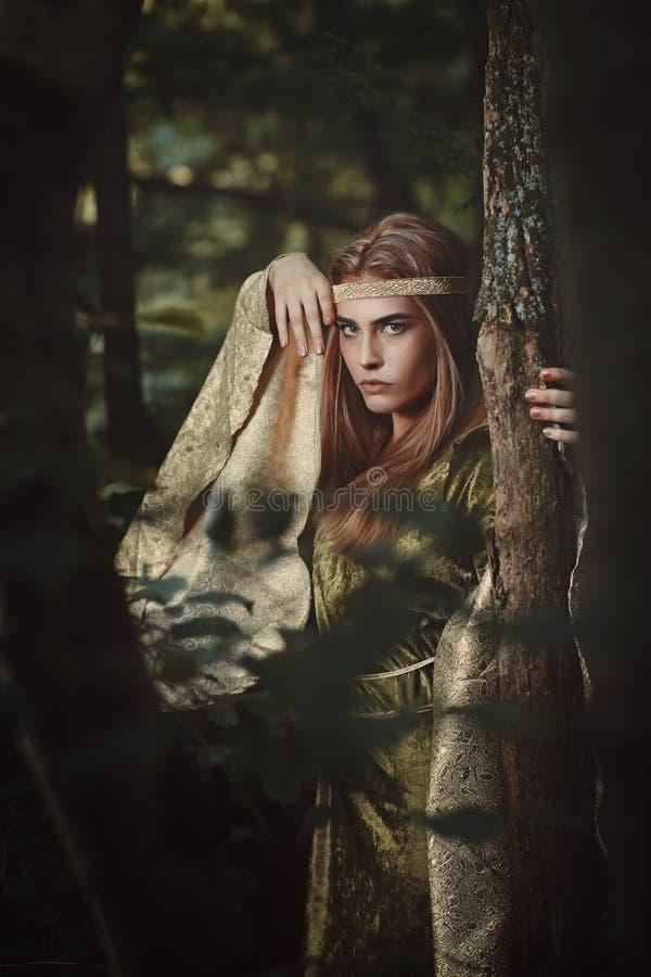Mulher do conto de fadas com vestido verde fotografia de stock