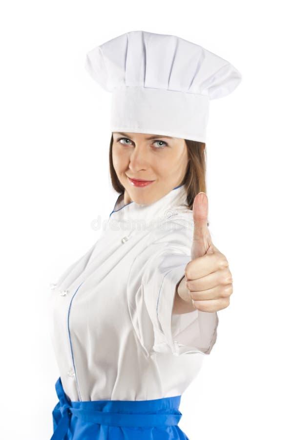 Mulher do cozinheiro chefe. Isolado no fundo branco. fotografia de stock
