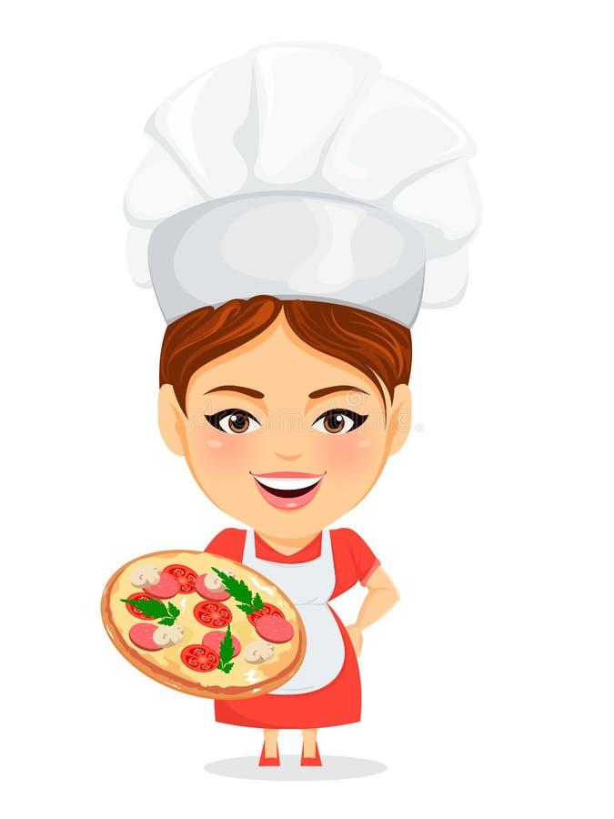 Mulher do cozinheiro, cozinheiro chefe mestre fêmea Personagem de banda desenhada engraçado com a cabeça grande que guarda a pizz ilustração stock