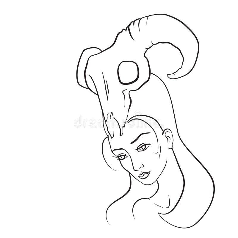 Mulher do demônio com o crânio da cabra em sua cabeça ilustração royalty free
