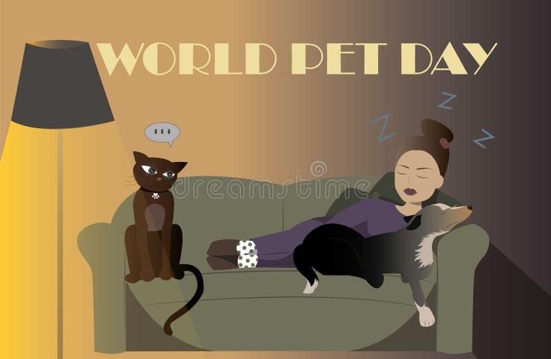 Mulher do dia do animal de estimação ilustração stock