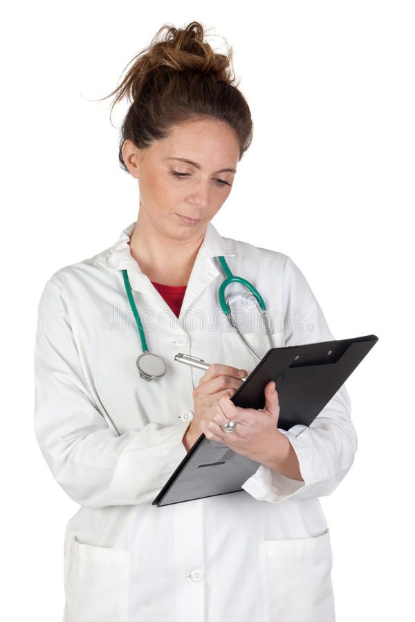 Mulher do doutor que faz o relatório foto de stock royalty free
