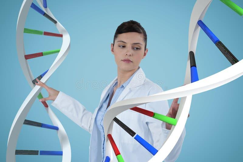 Mulher do doutor que interage com as costas do ADN 3D fotos de stock