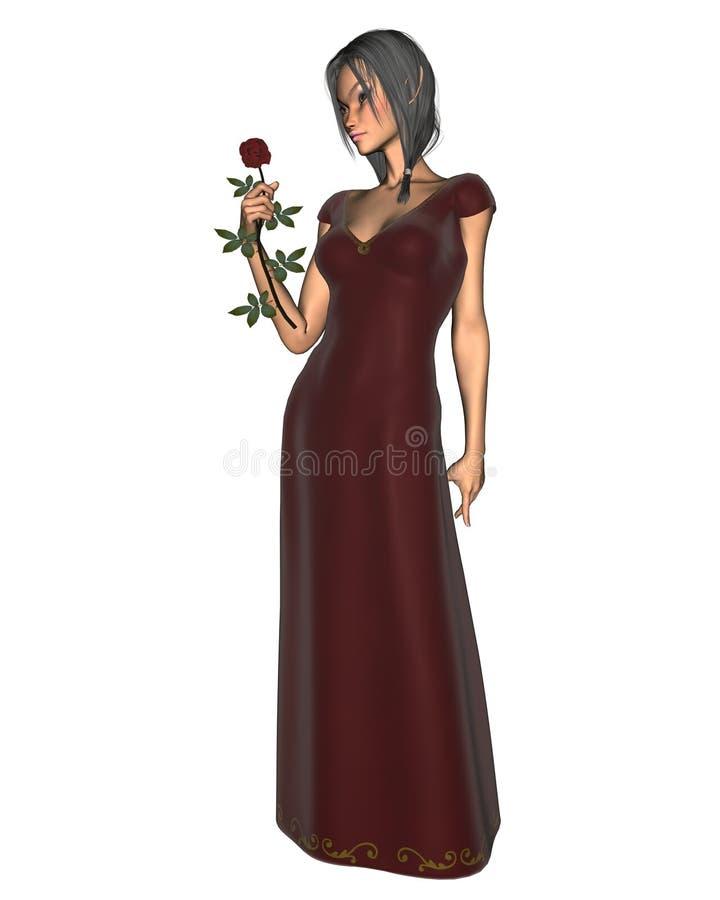Mulher do duende no veludo vermelho ilustração do vetor
