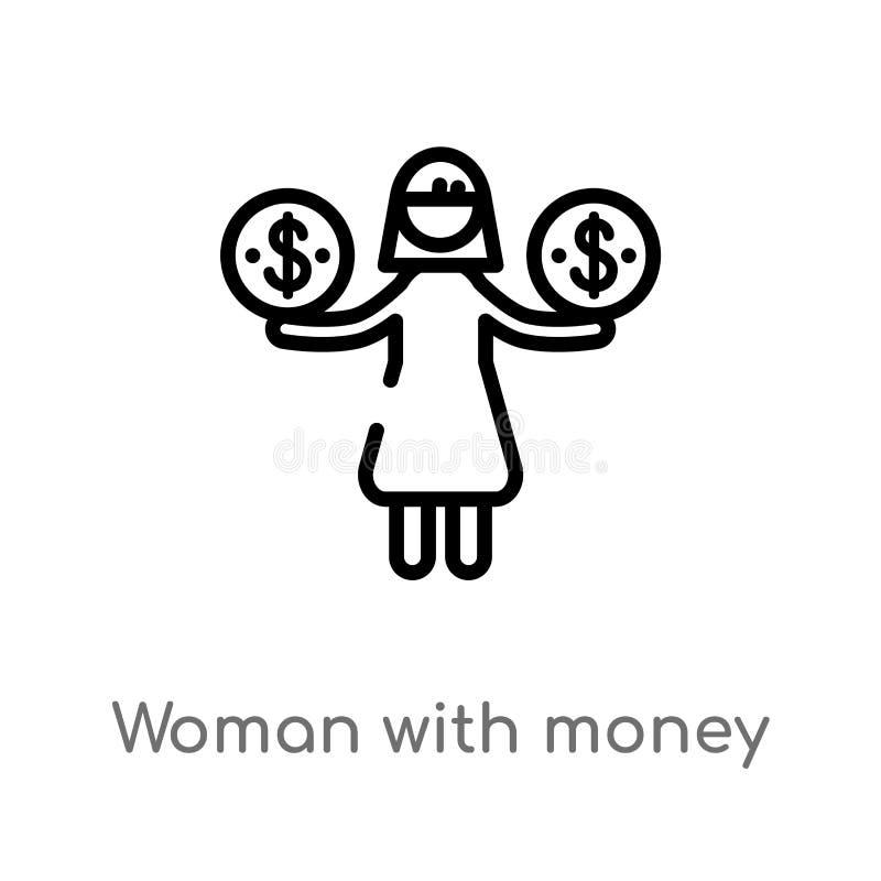 mulher do esboço com ícone do vetor do dinheiro linha simples preta isolada ilustração do elemento do conceito do negócio Vetor e ilustração do vetor