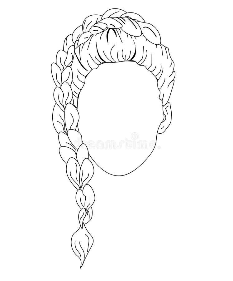 Mulher do esboço da mulher da forma da Web na camiseta com penteado da trança Vetor tirado da cara da mulher mão bonita ilustração royalty free