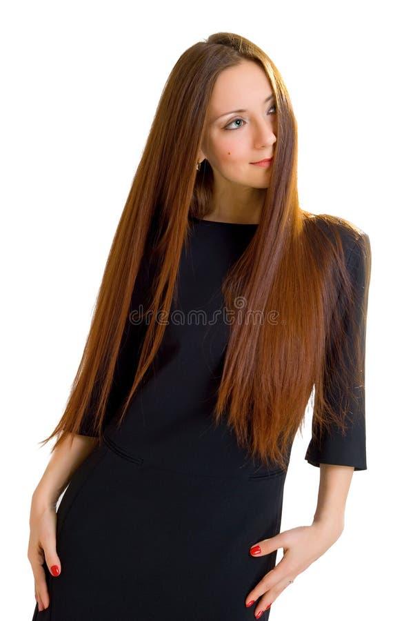 Mulher do estilo da elegância com cabelo longo fotos de stock royalty free