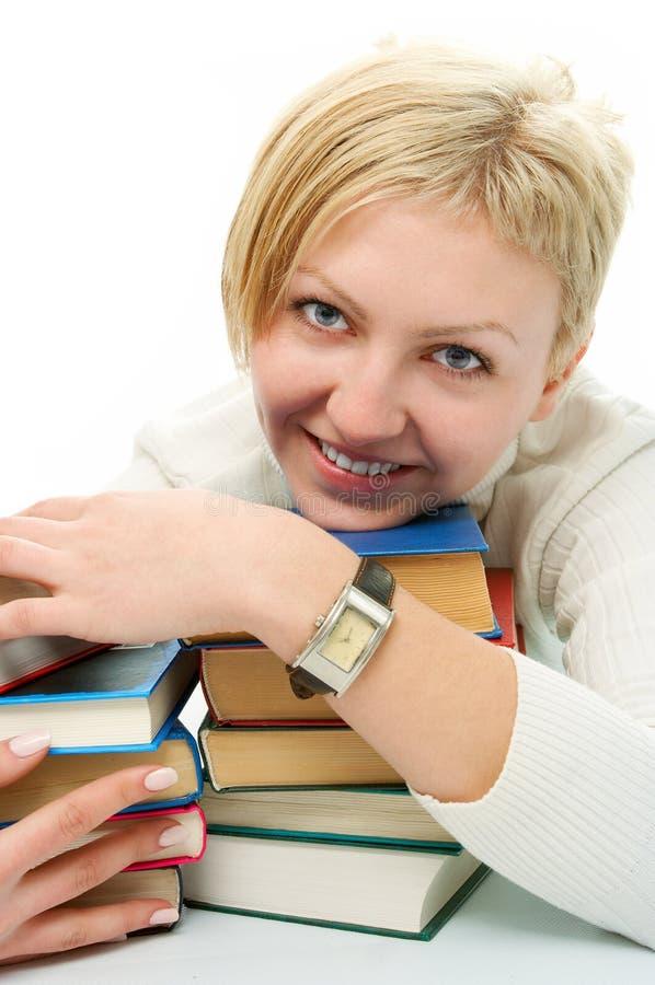 Mulher do estudante com livro imagens de stock