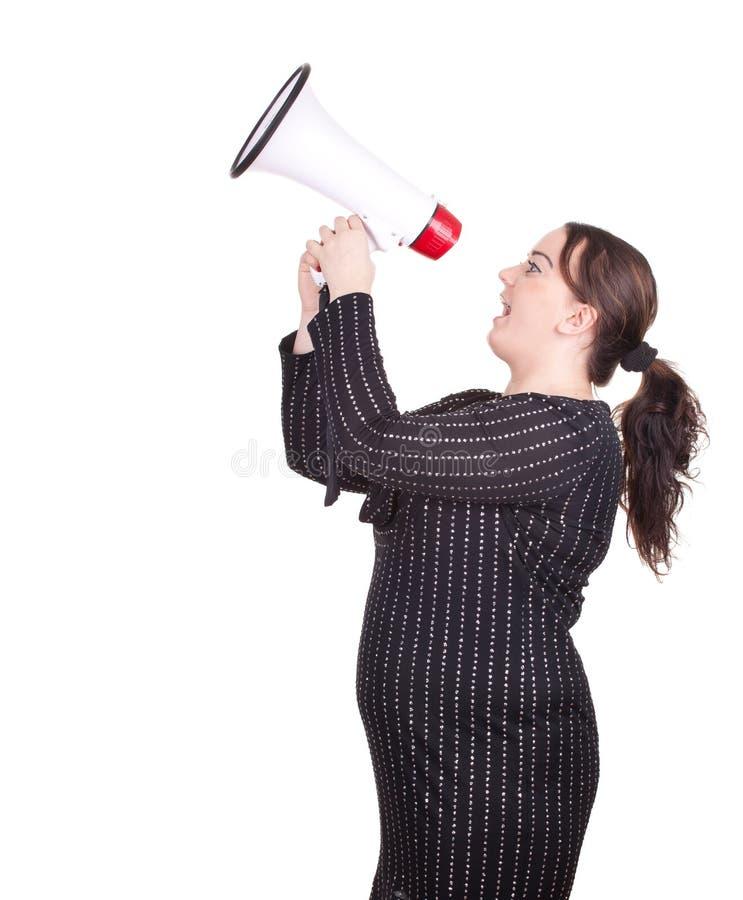 Mulher do excesso de peso com megafone foto de stock