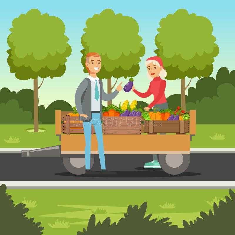Mulher do fazendeiro que vende vegetais do carro de madeira, mercado local dos fazendeiros ilustração royalty free