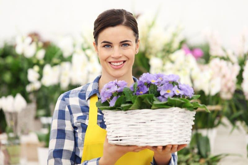 Mulher do florista que sorri com as flores de cesta de vime brancas imagem de stock
