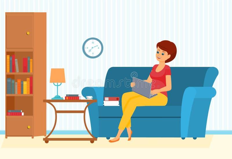 Mulher do Freelancer em um sofá com leptop ilustração royalty free