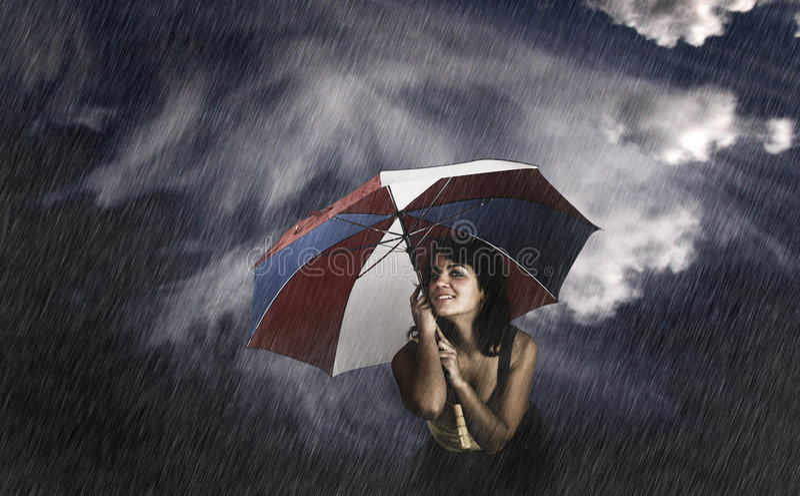 Mulher do guarda-chuva fotos de stock royalty free