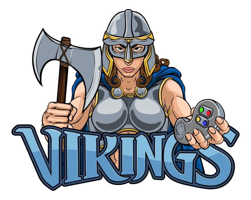 Mulher do guerreiro de Viking Trojan Celtic Knight Gamer ilustração do vetor