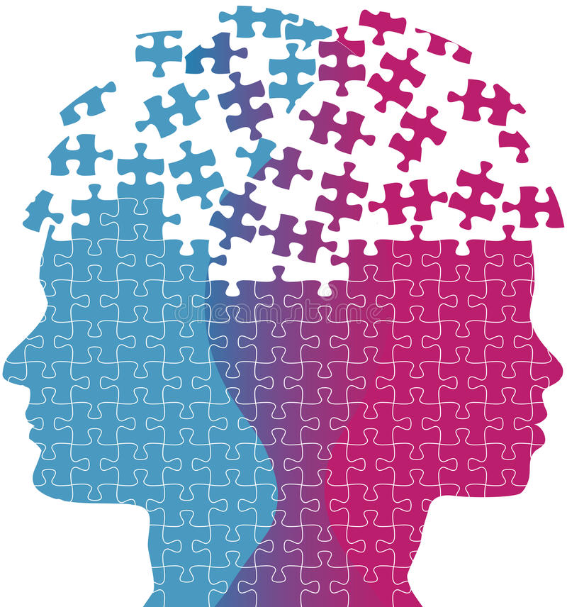 A mulher do homem enfrenta o enigma do problema do pensamento da mente ilustração do vetor