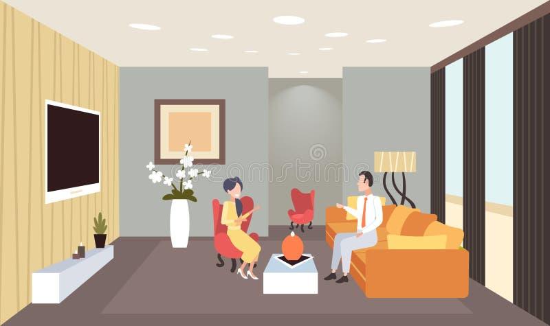Mulher do homem que discute durante os pares da reunião que têm da casa interior contemporânea da sala de visitas da conversação  ilustração royalty free