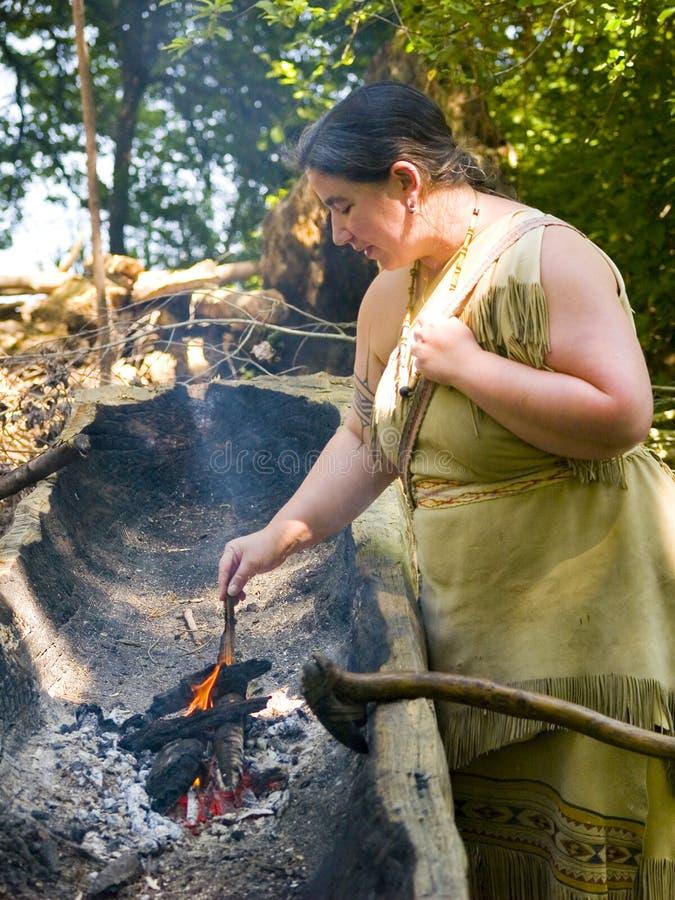 Mulher do Indian de Wampanoag foto de stock