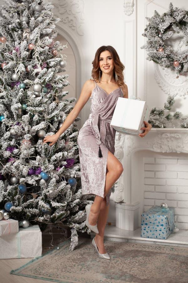 Mulher do inverno do Natal que guarda a caixa de presente mágica do Natal Ano novo bonito e árvore de Natal imagem de stock