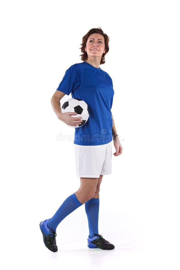 Mulher do jogador de futebol fotos de stock