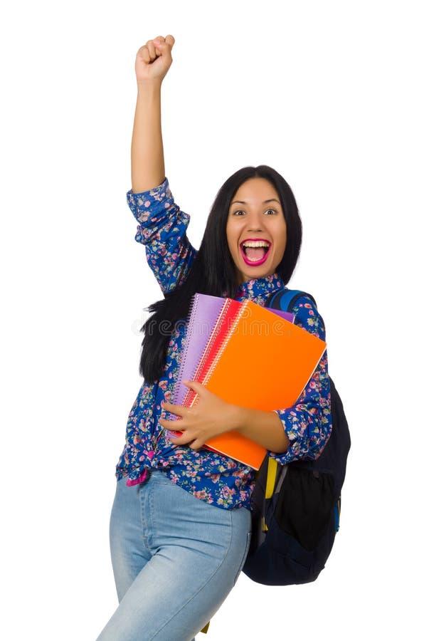 A mulher do latino com as notas isoladas no branco fotos de stock royalty free