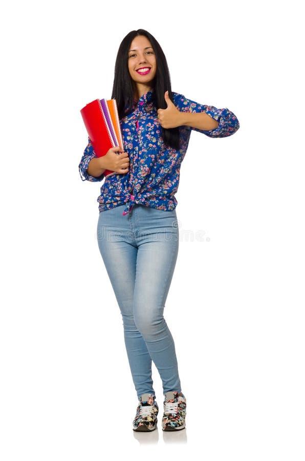 A mulher do latino com as notas isoladas no branco imagem de stock royalty free