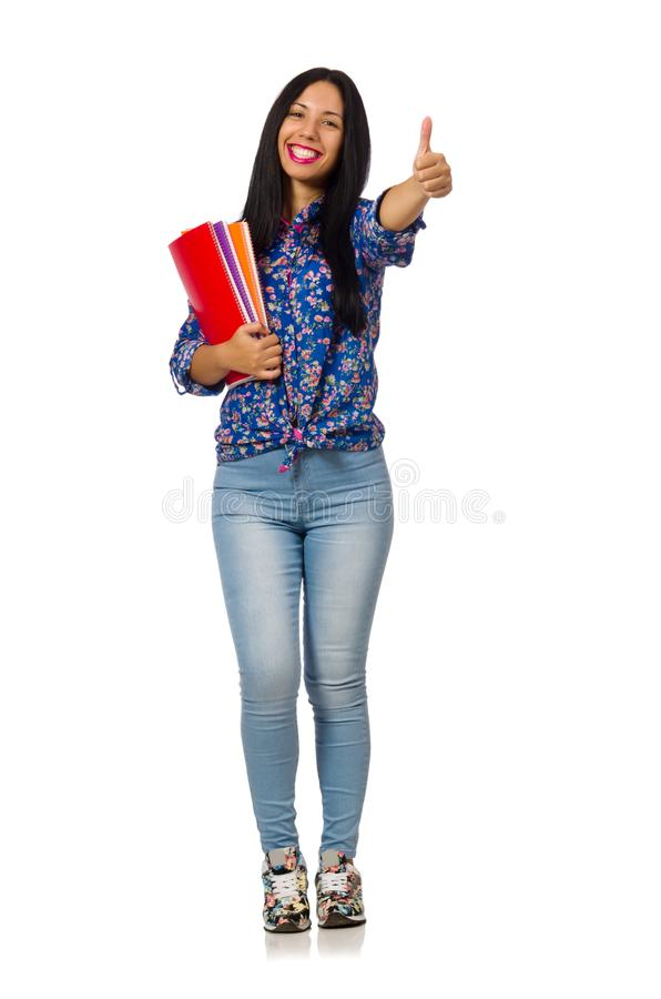 A mulher do latino com as notas isoladas no branco fotos de stock