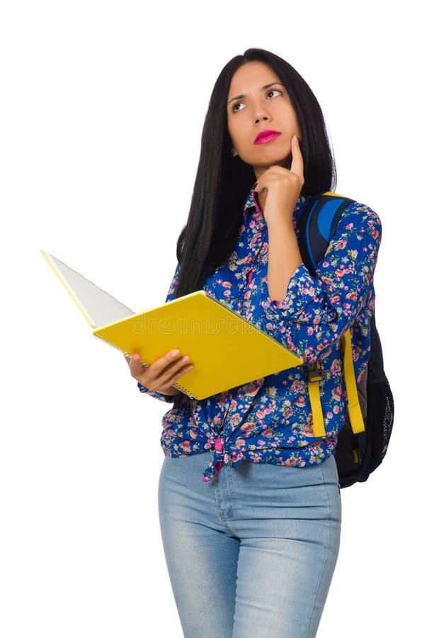 A mulher do latino com as notas isoladas no branco imagens de stock royalty free