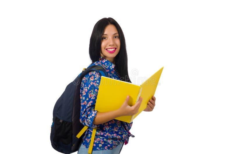 A mulher do latino com as notas isoladas no branco foto de stock