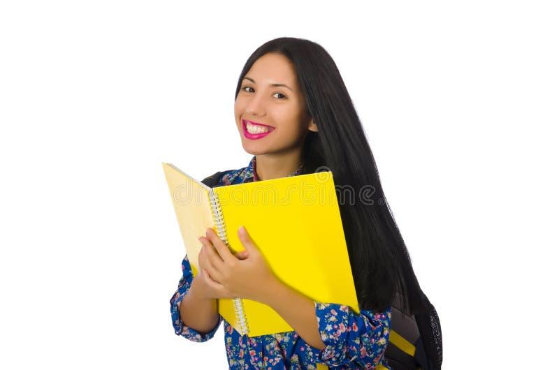 A mulher do latino com as notas isoladas no branco fotografia de stock royalty free