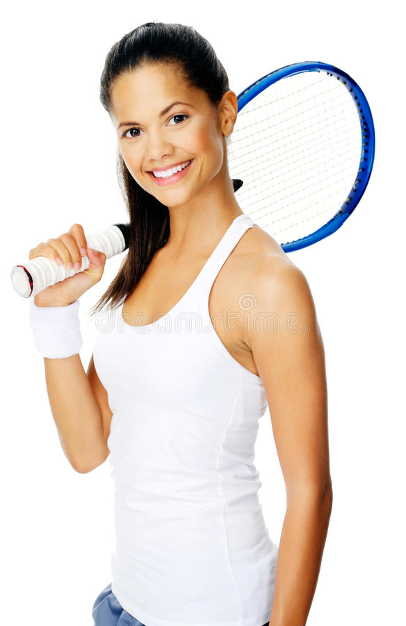 Mulher do latino do tênis imagens de stock royalty free