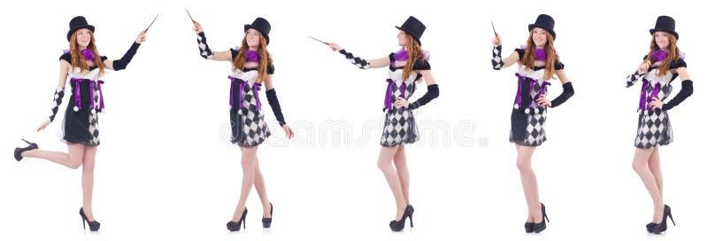 A mulher do mágico com a varinha no branco fotos de stock royalty free
