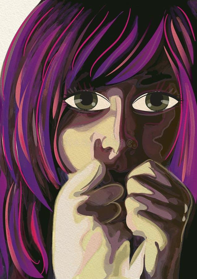 Mulher do medo Arte contemporânea watercolor ilustração do vetor