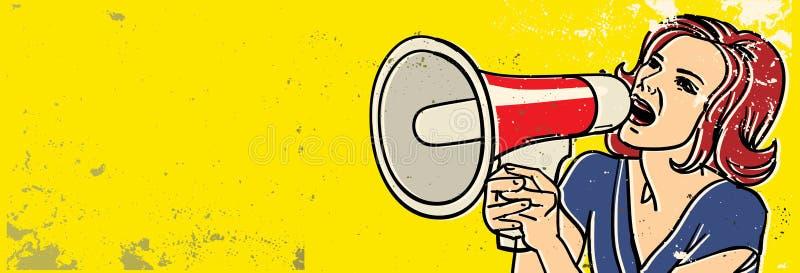 Mulher do megafone ilustração do vetor