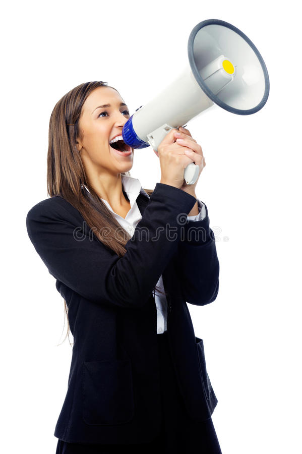 Mulher do megafone foto de stock
