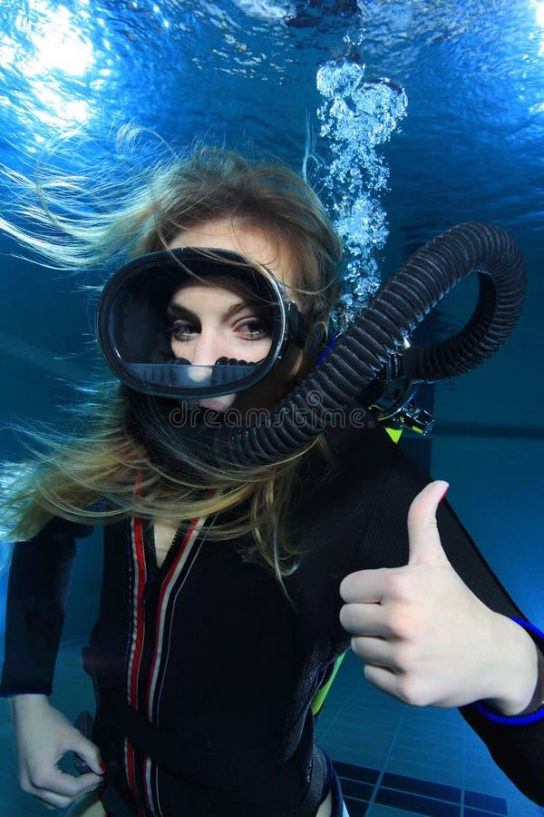 Mulher do mergulhador do vintage foto de stock royalty free