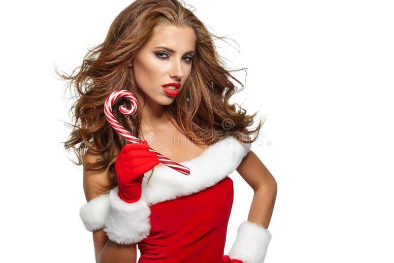 Mulher do Natal do vintage isolada no branco imagens de stock