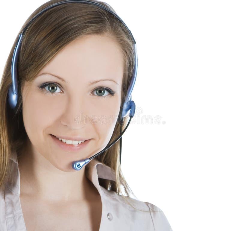 Mulher do operador do serviço de atenção a o cliente com auriculares imagens de stock royalty free