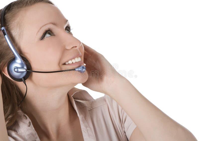 Mulher do operador do serviço de atenção a o cliente com auriculares fotos de stock royalty free
