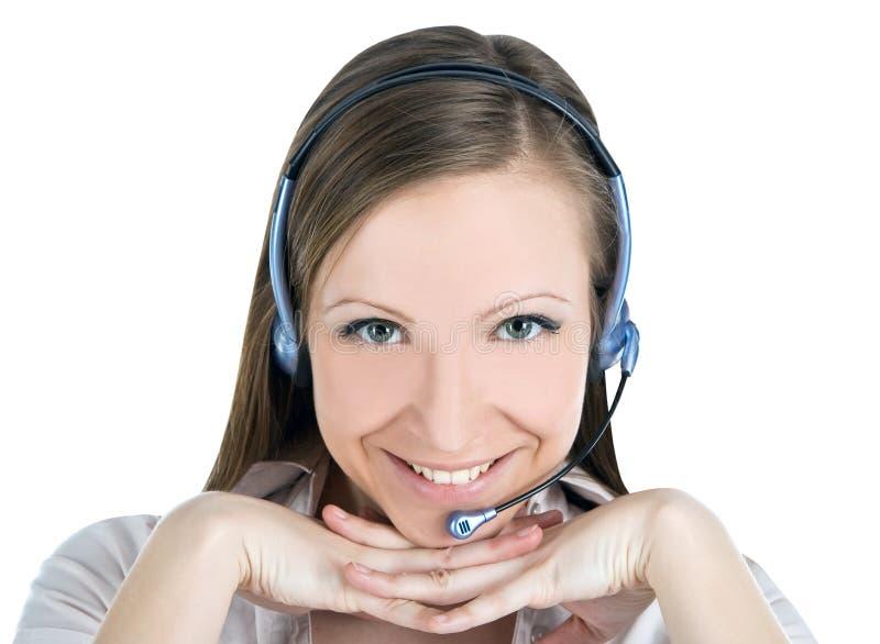 Mulher do operador do serviço de atenção a o cliente com auriculares imagem de stock