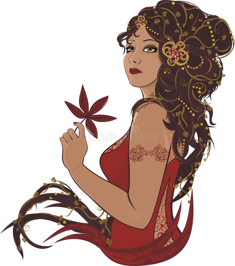 Mulher do outono ilustração do vetor