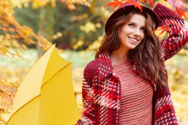 Mulher do outono no parque do outono com guarda-chuva, o lenço e couro vermelhos foto de stock royalty free
