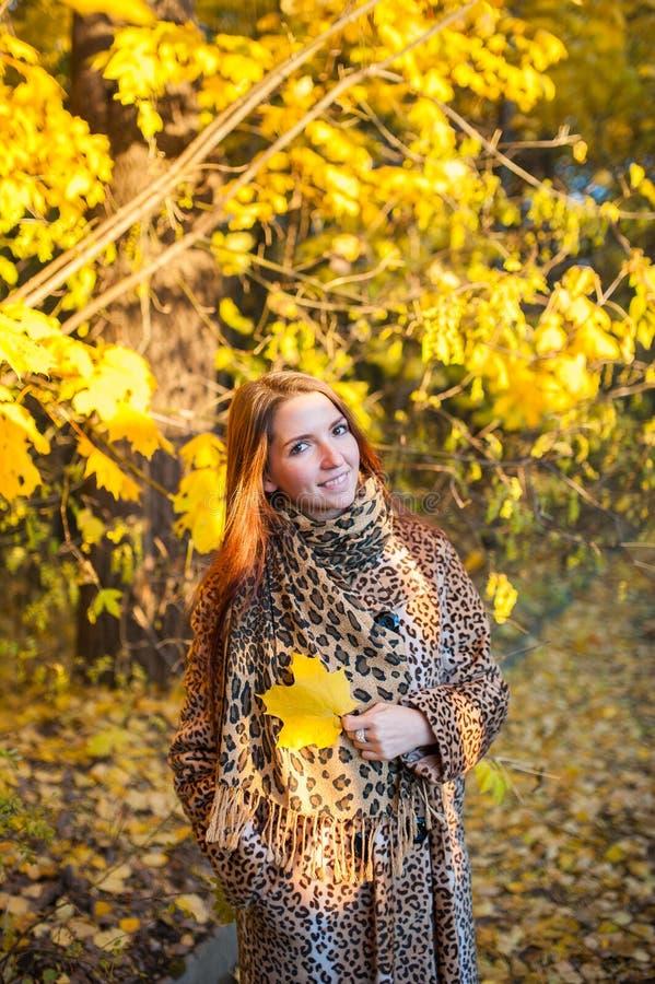 Mulher do outono no parque do outono Tempo ensolarado morno Conceito da queda No revestimento do leopardo fotos de stock royalty free